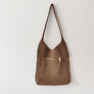 The SAK Larger Woven Shoulder Bag Purse Beige Tan